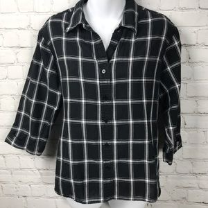 Talbots Irish Linen Blend Plaid Button Down Shirt